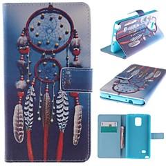 For Samsung Galaxy Note Kortholder Med stativ Flip Mønster Etui Heldækkende Etui Drømmefanger Kunstlæder for Samsung Note 4