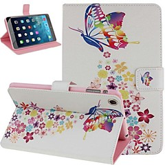 Colorful Butterfly and Flower Pattern PU Leather Flip Protective Case Cover with Stand for iPad mini