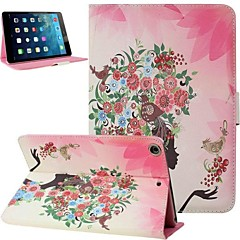 Colorful Fairy Girl and Flower Inlaid Shiny Glitter Diamond PU Case Cover with Stand for iPad mini