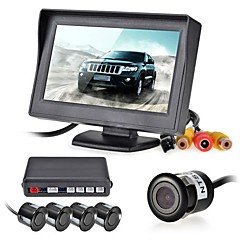 12v 4 sensores de aparcamiento pantalla lcd monitor de vídeo de la cámara inversa de radar de copia de seguridad de alarma kit de sistema de timbre