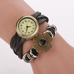 Women's Bronze  Dial Flower Band  Artificial Leather Quartz Wristwatches  (Assorted Color)C&d331