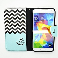 Anchor Pattern PU Leather Full Body Case with Card Slot and Stand for Samsung S5 I9600