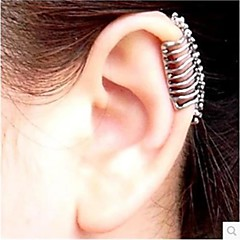 Punk Skull Spine Without Hole Silver Ear Cuffs (1 Pcs)