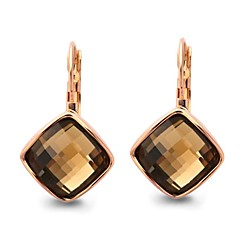 Unique Eardrop Fashion 18K Gold Plated Dazzling Shining Austria Crystal Rhombus Shape Dangle Earrings