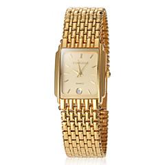 女性の正方形のダイヤルスチールバンドクォーツ腕時計