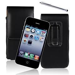 véritable PU cuir de vachette bascule portefeuille vertical cas ceinture enveloppe de couverture clip housse pour iPhone 4 / 4S