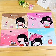 Japanese Girl Pattern Plastic A4 File Bag(1 PCS Random Color)