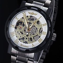 Men's Manual Mechanical Hollow Skeleton Gold Face Black Steel Band Wrist Watch (Assorted Colors)