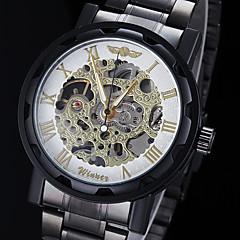WINNER Αντρικά μηχανικό ρολόι Ρολόι Καρπού Μηχανικό κούρδισμα Εσωτερικού Μηχανισμού Ανοξείδωτο Ατσάλι Μπάντα Μαύρο Χρυσό Λευκό Μαύρο