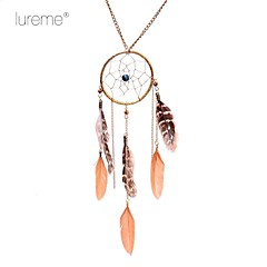Lureme® Ethnic Bead Dreamcatcher Feather  Leather Necklace