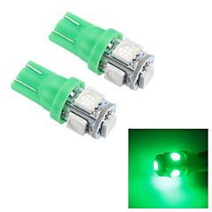 merdia t10 0.5w 25LM 5x5050smd conduit vert clair de lecture / lampe de plaque d'immatriculation / lumière latérale (24v / paire)