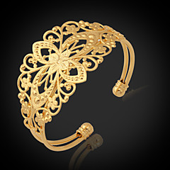 U7® Vintage Bracelets For Women 18K Chunky Gold Filled Gold Plated Cuff Bangle Jewelry