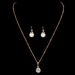 Fashion Water-drop Shape Golden Copper (Includes Necklace&Earrings) Jewelry Set(1 Set)