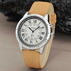 Men's Round Roman numbers Dial Scrub Leather Quartz Analog Dress Watch  (Assorted Color)
