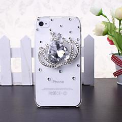 Decorada com Pedrarias/Strass - iPhone 5S - Capa com Jóias ( Branco , Plástico )