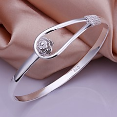 925 Silver Simple Flower Shape Bangles(1pc)