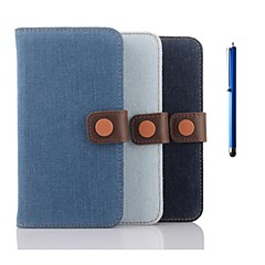 5.1 Inch Denim Pattern Wallet Leather Case with Pen for Samsung GALAXY S6(Assorted Colors)