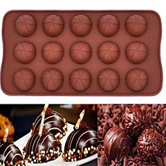 15 Hole Silicone Mold Chocolate Mousse Cake Baking Oven With A Silicone Mold (Round Chocolate)