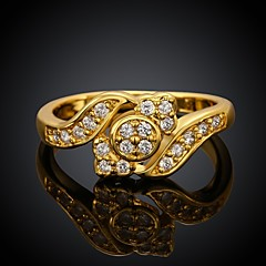 Beautiful AAA Zirconium Drill Fashion Exquisite Ms Leaves Plating 18 K Gold Ring