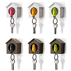 Bird Nest Sparrow House Key Chain Ring Chain Plastic Whistle Wall Hook Holders (Random Color) 7*5*8 cm
