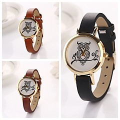 Women's Owl  Round  Dial Leather Quartz Wristwatches  (Assorted Color)C&d127