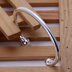 925 Silver Double  Round Head Opening Bangles(1pc)