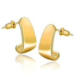 18 k gold-plated environmental geometric modelling stud earrings (More Colors)