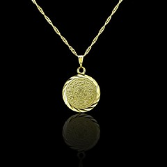 18K Real Gold Plated Allah Muslim Coin Pendant 2*3CM