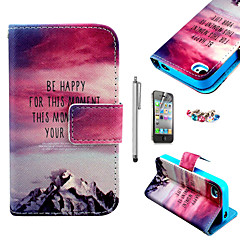 KARZEA™Hill Sunset Pattern PU Leather Case with Screen Protector and Stylus and Dust Plug for iPhone 4/4S