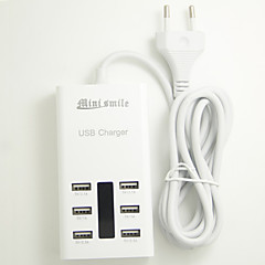 Mini smile™ 100-240V EU Plug USB Power Adapter with 6 USB Power Ports for Moblie Phone and Tablets