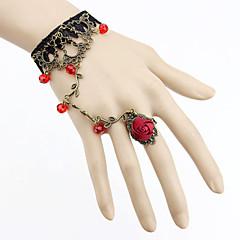 Vintage Gothic Style Lace Rose Adjustable Ring Bracelet