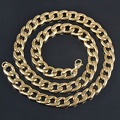 """11.5mm*28"""" Fashion Men's Big Punk 18K Yellow Gold/Silver Platinum Plated Stainless Steel Chain Necklaces 3 Colors"""
