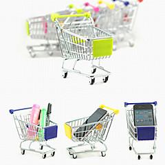 Mini Cute Simulation Shopping Cart Alloy Desk Storage(Random Colors)