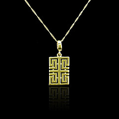 18K Real Gold Plated  Great Wall Texture Square Pendant Necklace