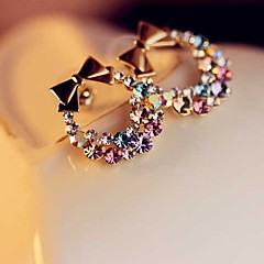 Fashion Colorful Diamond Bow Earrings #28-1