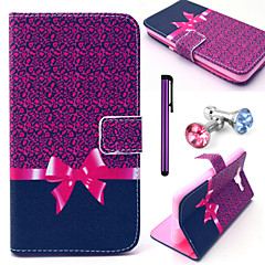Leopard Bow Pattern PU Leather Case with Anti-dust Plug and Stylus for Samsung Galaxy Grand Prime G530H