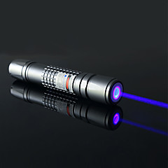 OXLasers OX-B40 Powerful Flashlight Shaped Focusable Burning True Blue Laser Pointer (5mW, 445nm-450nm, 2*16340, Silver)