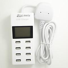 mini smil ™ 100-240V uk plug usb strømforsyning med 8 USB Power porte og LED-display til moblie telefon og tabletter