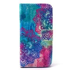 نمط زهرة ماندالا بو حقيبة جلد مع فتحة لبطاقة والوقوف لi9190 مصغرة سامسونج غالاكسي S4