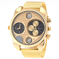 JUBAOLI® Men's Dual Time Zones Design Gold Steel Band Quartz Wrist Watch Cool Watch Unique Watch