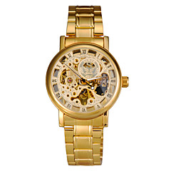 Men's Watch Golden Dial Auto-Mechanical Hollow Engraving Full Stainless Steel Band