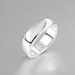 Kadınlar için moda lüks basit kare gümüş bant halkası