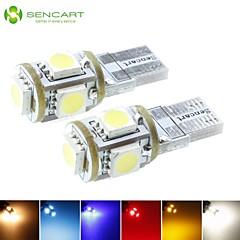 t10 149 W5W LED azul / rojo / blanco cálido / verde / amarillo / blanco 5x5050smd 1.5w 90lm para bombilla del coche (DC12-16V)