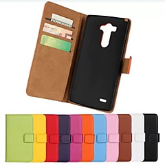 egyszínű stílusos valódi műbőr felhajtható fedél pénztárca kártya slot állvánnyal lg g3 (vegyes színek)