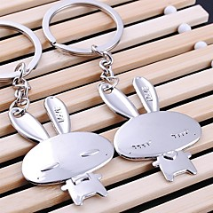 Cute Rabbit Wedding Key Ring Keychain for Lover Valentine's Day(One Pair)