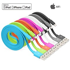 yellowknife® maçã mfi relâmpago 8pin sincronia e cabo plano carregador USB para iPhone 7 6s 6 mais se 5s 5 ipad (100cm)
