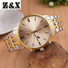 Men's Fashion Eyes Calendar Between Gold Quartz Analog Steel Belt Watch(Assorted Colors)
