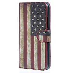 Retro American Flag Wallet Leather Stand Cover for Microsoft Lumia 640