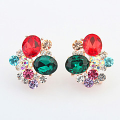 Fashion Alloy/Rhinestone/Glass Earring Clip Earrings Wedding/Party/Daily 2pcs(Assorted Color)