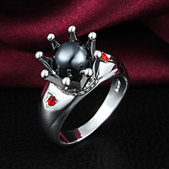 2016 New Luxury Black Imperial Crown Sterling Silver Zircon Ring For Women